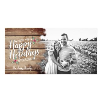 Happy Holidays With Love Christmas Photo Card
