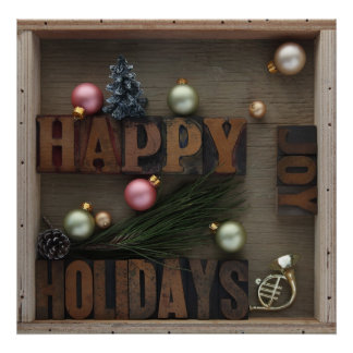 Happy holidays with ornaments poster
