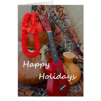 Happy Holidays with Red Ribbon Lei Greeting Card