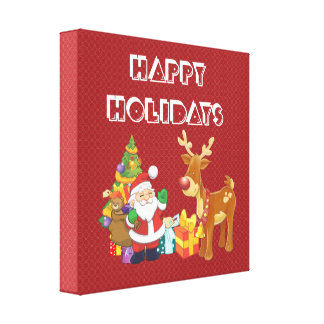 Happy Holidays with Santa and Reindeer Canvas Print