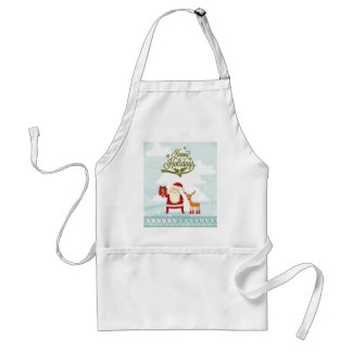 Happy Holidays with Santa Claus and Rudolf Adult Apron