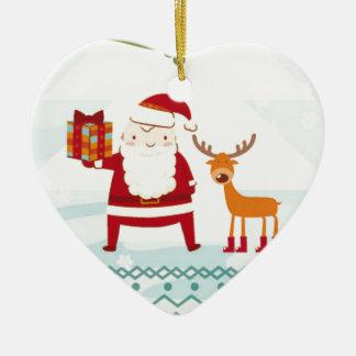 Happy Holidays with Santa Claus and Rudolf Ceramic Ornament