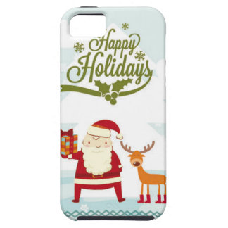 Happy Holidays with Santa Claus and Rudolf iPhone SE/5/5s Case