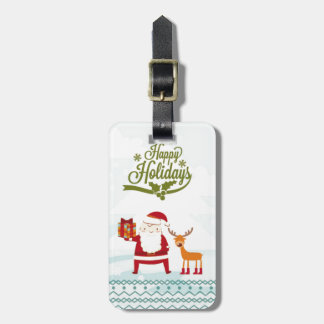Happy Holidays with Santa Claus and Rudolf Luggage Tag