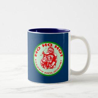 Happy Holidays with Vintage Santa Design Two-Tone Coffee Mug