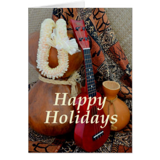 Happy Holidays with White Ribbon Lei Greeting Card