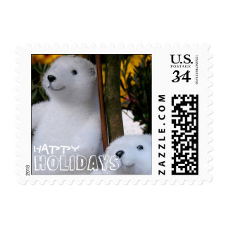 Happy Holidays with White Teddy Bears  - Postage