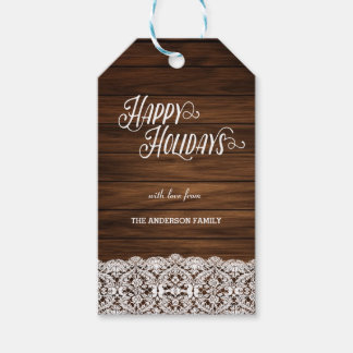 Happy Holidays wood gift tags