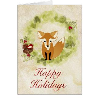 Happy Holidays Woodland Fox and Wreath Christmas Card