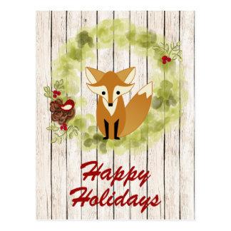 Happy Holidays Woodland Fox and Wreath Christmas Postcard