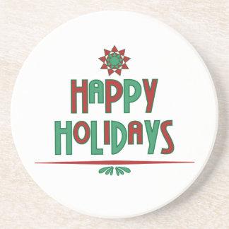 Happy Holidays Word Art Coaster