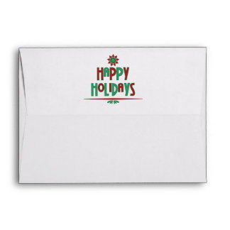 Happy Holidays Word Art Envelope