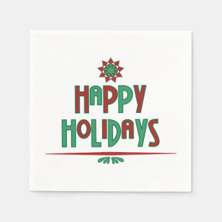 Happy Holidays Word Art Paper Napkins
