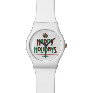 Happy Holidays Word Art Watch