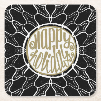 Happy Holidays Worn Tile Print | Square Paper Coaster