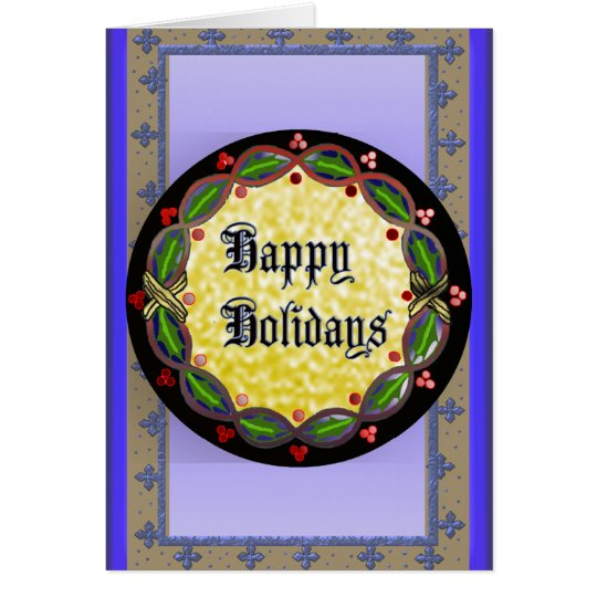 happy holidays wreath card