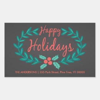HAPPY HOLIDAYS WREATH CHALKBOARD ADDRESS RECTANGULAR STICKER