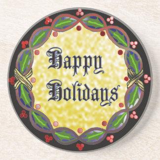 happy holidays wreath coaster