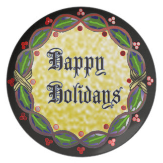 happy holidays wreath dinner plate
