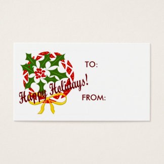 Happy Holidays wreath GIFT TAGS