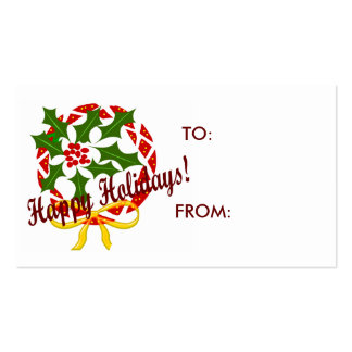 Happy Holidays wreath GIFT TAGS Double-Sided Standard Business Cards (Pack Of 100)