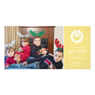 Happy Holidays Wreath Photo Cards (Gold Yellow)