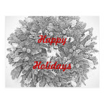Happy Holidays Wreath Postcard