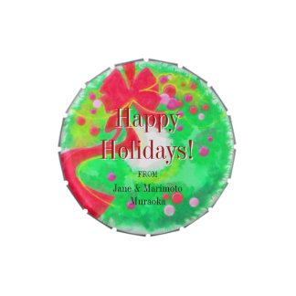 Happy Holidays Wreath Traditional Holidays Candy Jelly Belly Candy Tins