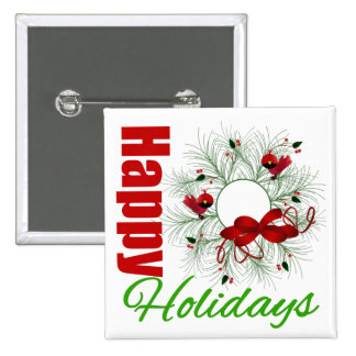 Happy Holidays Wreath with Birds 2 Inch Square Button