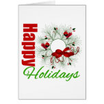 Happy Holidays Wreath with Birds Greeting Card