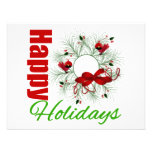 Happy Holidays Wreath with Birds Personalized Invitations
