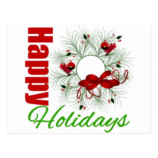 Happy Holidays Wreath with Birds Postcards