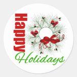Happy Holidays Wreath with Birds Sticker