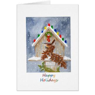 Happy Holidays Wren Card