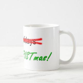 Happy Holidays X-out Merry Christmas Mug