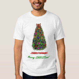 Happy Holidays X-out Merry Christmas w/Tree Tee