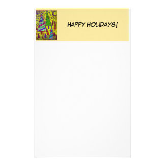 Happy Holidays Yellow Tree Collage Customized Stationery