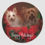 Happy Holidays Yorkie and Friends Stickers