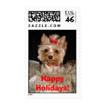 Happy Holidays Yorkie!! Postage Stamp