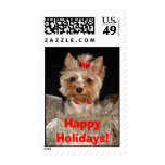 Happy Holidays Yorkie!! Postage Stamps