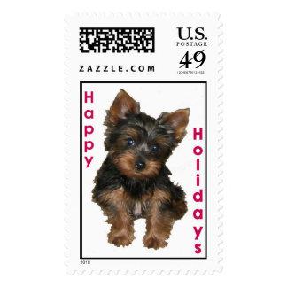 Happy Holidays Yorkie Stamp