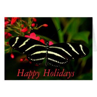 Happy Holidays Zebra Long-Wing Card