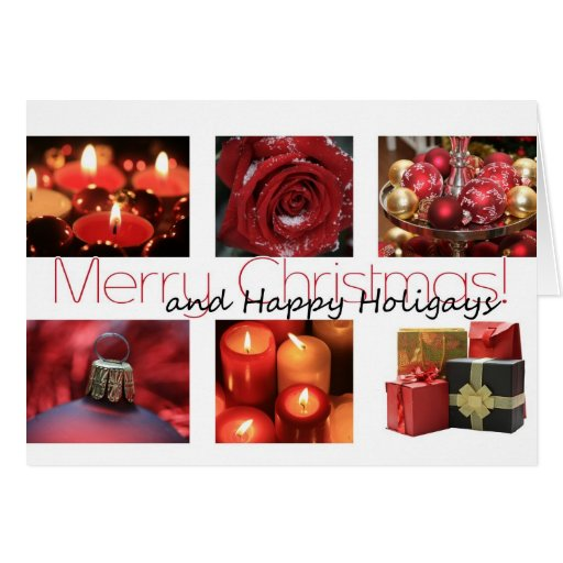 Happy Holigays Christmas red, black & white Winter Greeting Cards