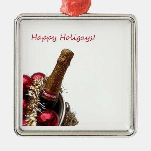 Happy Holigays gay x-mas champagne ornament