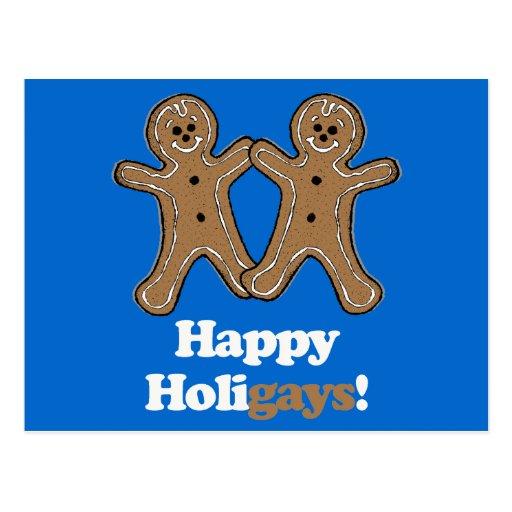 Happy Holigays Gingerbread Postcard