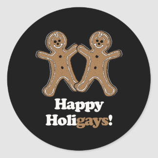 Happy Holigays Gingerbread Round Sticker