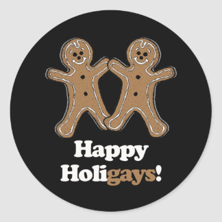 Happy Holigays Gingerbread Round Stickers