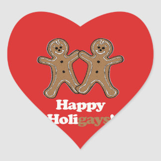 HAPPY HOLIGAYS (Gingerbread) Heart Stickers