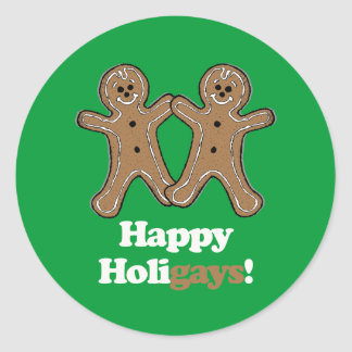 Happy Holigays Gingerbread Stickers