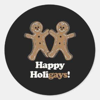 Happy Holigays - Round Stickers